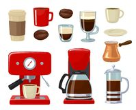 Vector coffee icon set  on white background.. Coffee maker, take away, coffee machine, cezve or turkish, coffee pot, french press, beans, saucer, cup. For web Stock Photography
