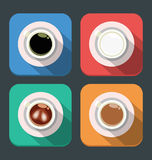 Vector coffee icons, flat design for four icons, top view Stock Images