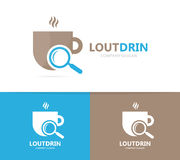 Vector of coffee and loupe logo combination. Drink and magnifying glass symbol or icon. Unique cup and search logotype. Vector logo or icon design element for Royalty Free Stock Images