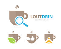 Vector of coffee and loupe logo combination. Drink and magnifying glass symbol or icon. Unique cup and search logotype. Vector logo or icon design element for Stock Photography