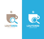 Vector of coffee and loupe logo combination. Drink and magnifying glass symbol or icon. Unique cup and search logotype. Vector logo or icon design element for Royalty Free Stock Image