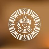 Vector coffee mug on round emblem Stock Image