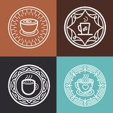 Vector coffee mugs on round emblems. Vector coffee mug on round emblem - outline graphic design element - badges and label for coffee  and tea shops Royalty Free Stock Images