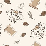 Vector Coffee Pattern in Sketch Style Stock Photo