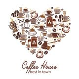 Vector coffee poster for cafeteria or coffeehouse. Coffeehouse heart poster of coffee cups, maker and grinders icons for cafeteria, of cafe design template Royalty Free Stock Image