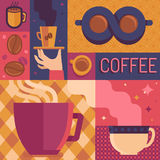 Vector coffee poster template in flat retro style Royalty Free Stock Image
