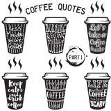 Vector coffee quotes and sayings typography set. Vector coffee quote lettering on paper cup set. Calligraphy hand written phrases and sayings about coffee Royalty Free Stock Image
