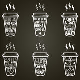 Vector coffee quotes and sayings typography set. Vector coffee quote lettering on paper cup set. Calligraphy hand written phrases and sayings about coffee Royalty Free Stock Images