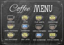 Vector coffee recipe type and menu design in flat style on chalk board. EPS Royalty Free Stock Images