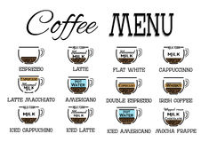 Vector coffee recipe type and menu design in flat style. EPS Royalty Free Stock Photos