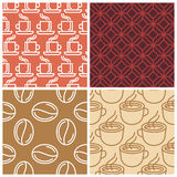 Vector coffee seamless patterns. In simple line style vector illustration