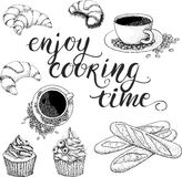 Vector coffee set Enjoy cooking time Stock Images