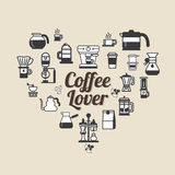 Vector Coffee set shape heart. Coffee lover set . Stock Images