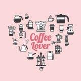 Vector Coffee set shape heart. Coffee lover set . Stock Photography