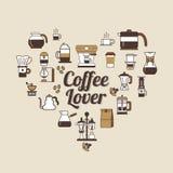 Vector Coffee set shape heart. Coffee lover set . Royalty Free Stock Photo