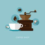 Vector coffee shop illustration Stock Photos