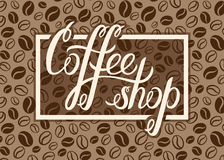 Vector Coffee shop logo on coffee beans background for menu, car Royalty Free Stock Images
