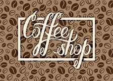 Vector Coffee shop logo on coffee beans background for menu, car Royalty Free Stock Image