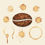 Vector coffee stains on the paper. Isolated stains Royalty Free Stock Images