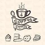 Vector coffee station logo in doodle style include bakery icon a. Nd flag pattern at background, Coffee shop concept design stock illustration