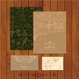 Vector coffee and tea branding Design. Set of floral cards. Swee Stock Photos