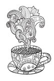 Vector coffee or tea cup with abstract ornaments. Stock Image