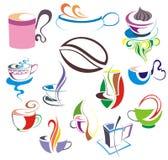 Vector coffee,tea cup set. Cup coffee tea set latte menu Royalty Free Stock Photos
