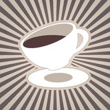 Vector coffee or tea cup and stripes, beams, rays in brown coffee, milk white colors Stock Photos