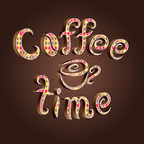 Vector coffee time lettering decorated with romb pattern Royalty Free Stock Photography
