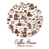 Vector coffeehouse cafe and coffee poster. Coffeehouse poster of coffee cups and coffee makers for cafe or cafeteria design. Vector icons or tea mugs, coffee Royalty Free Stock Photography