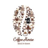 Vector coffeehouse cafe and coffee poster. Coffeehouse poster of coffee cups and coffee makers or tea mugs in shape of coffee bean. Vector design template of Stock Photos