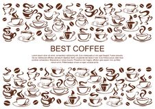 Vector coffeehouse cafe poster of coffee cups. Coffeehouse poster of coffee cups for cafe or cafeteria and coffeeshop design template. Vector icons of coffee or Royalty Free Stock Image