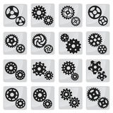 Vector cog icons (black & white) Royalty Free Stock Photo