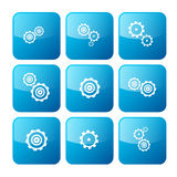 Vector Cogs - Gears Blue Icons Set Stock Photo