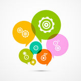 Vector Cogs - Gears Colorful Circle Icons Set Royalty Free Stock Photography