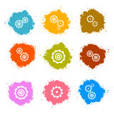 Vector Cogs - Gears Colorful Splashes Icons Set. Isolated on White Background Stock Photography