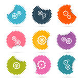 Vector Cogs - Gears Colorful Stickers Icons Set Royalty Free Stock Photo