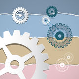 Vector Cogs, Gears on Torn Paper Background Royalty Free Stock Image