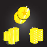 Vector coin icon with background black Royalty Free Stock Photos