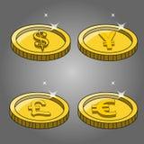 Vector coin icon .coin euro,coin dollar,coin yen,coin found Royalty Free Stock Photo