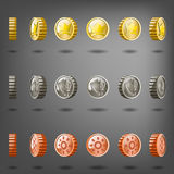 Vector coin rotation gold copper silver. Stock Photos