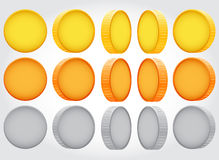 Vector coin rotation. gold copper silver Stock Photography
