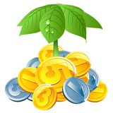 Vector coins under leafs umbrella Royalty Free Stock Images
