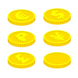 Vector coins  on white background. 3d isometric vector coins  on white background. With currency signs - dollar, pound, euro, ruble and yen. Vector design Royalty Free Stock Photography
