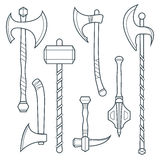Vector cold weapons outline set Royalty Free Stock Images