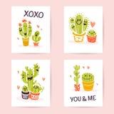 Vector a coleção de cartões bonitos lisos do amor com mão engraçada ícones e os retratos tirados dos cactos, rotulando felicitaçõ Fotos de Stock Royalty Free