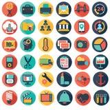Vector a coleção do negócio liso colorido e financie ícones ilustração stock