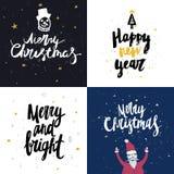 Vector a coleção dos cartões do Natal e do ano novo com rotulação handdrawn Imagens de Stock Royalty Free