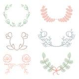 Vector a coleção dos louros, de elementos florais e de bandeiras Imagens de Stock Royalty Free