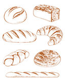 Vector a coleção dos pães Fotos de Stock